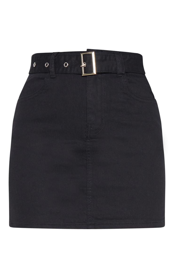 Washed Black Disco Belted Denim Mini Skirt 4