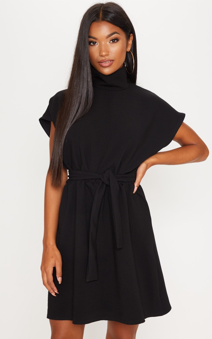 Black High Neck Belted Skater Dress 1
