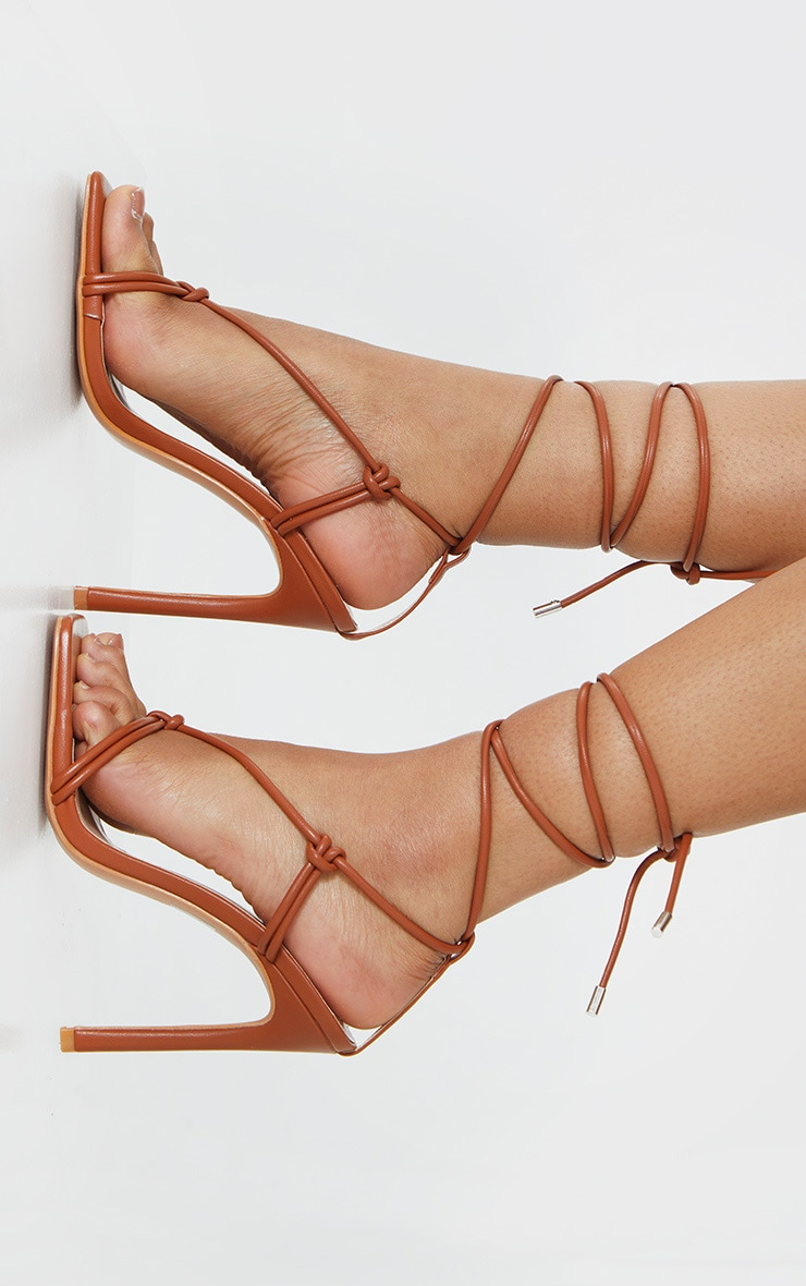 Brown Extreme Square Front Knot Detail High Heels 2