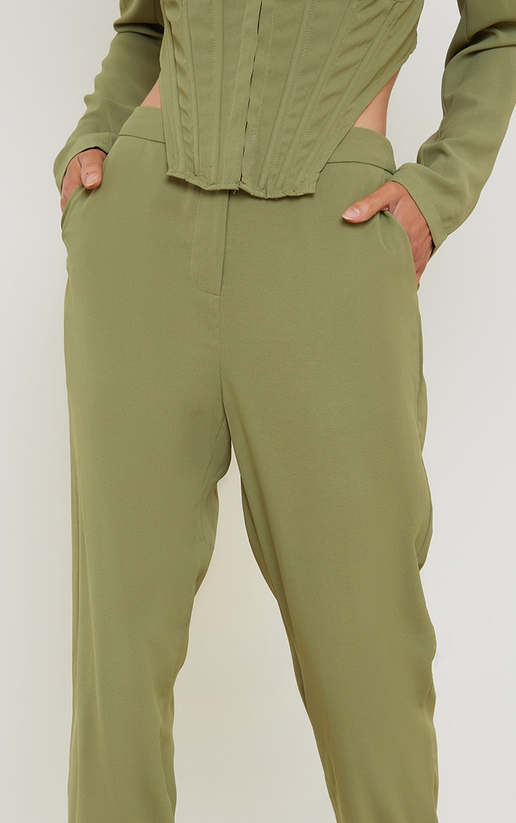Olive Woven Pocket Detail Straight Leg Trousers 4