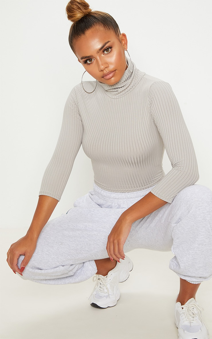 Grey Marl Long Sleeve Rib Roll Neck Crop Top 4