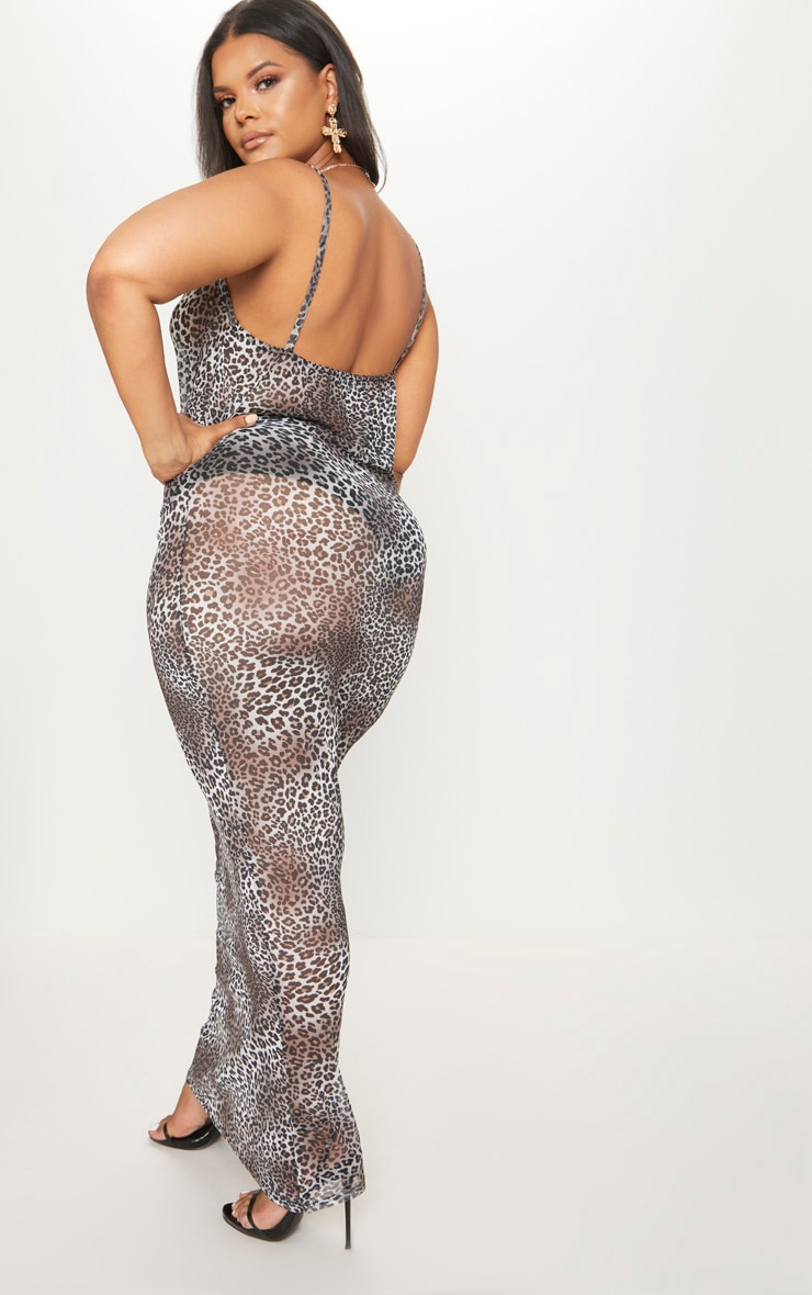 Plus Brown Mesh Leopard Print Maxi Dress 2