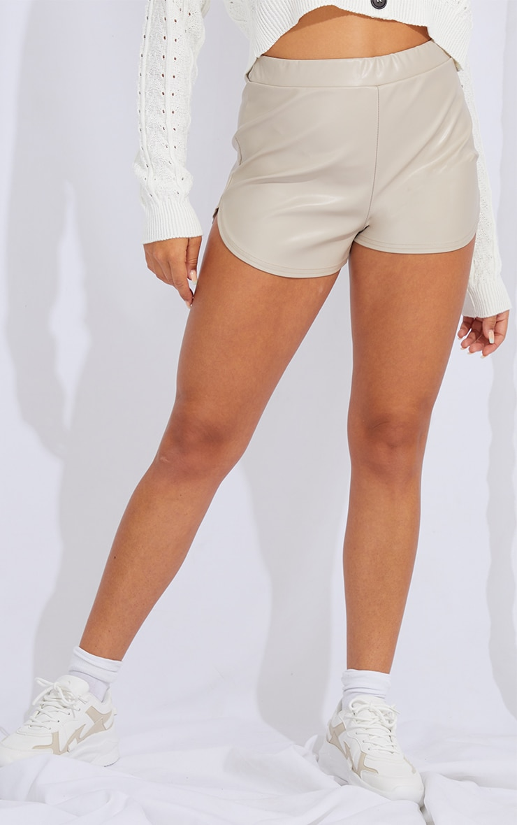 Stone Faux Leather Runner Shorts 2