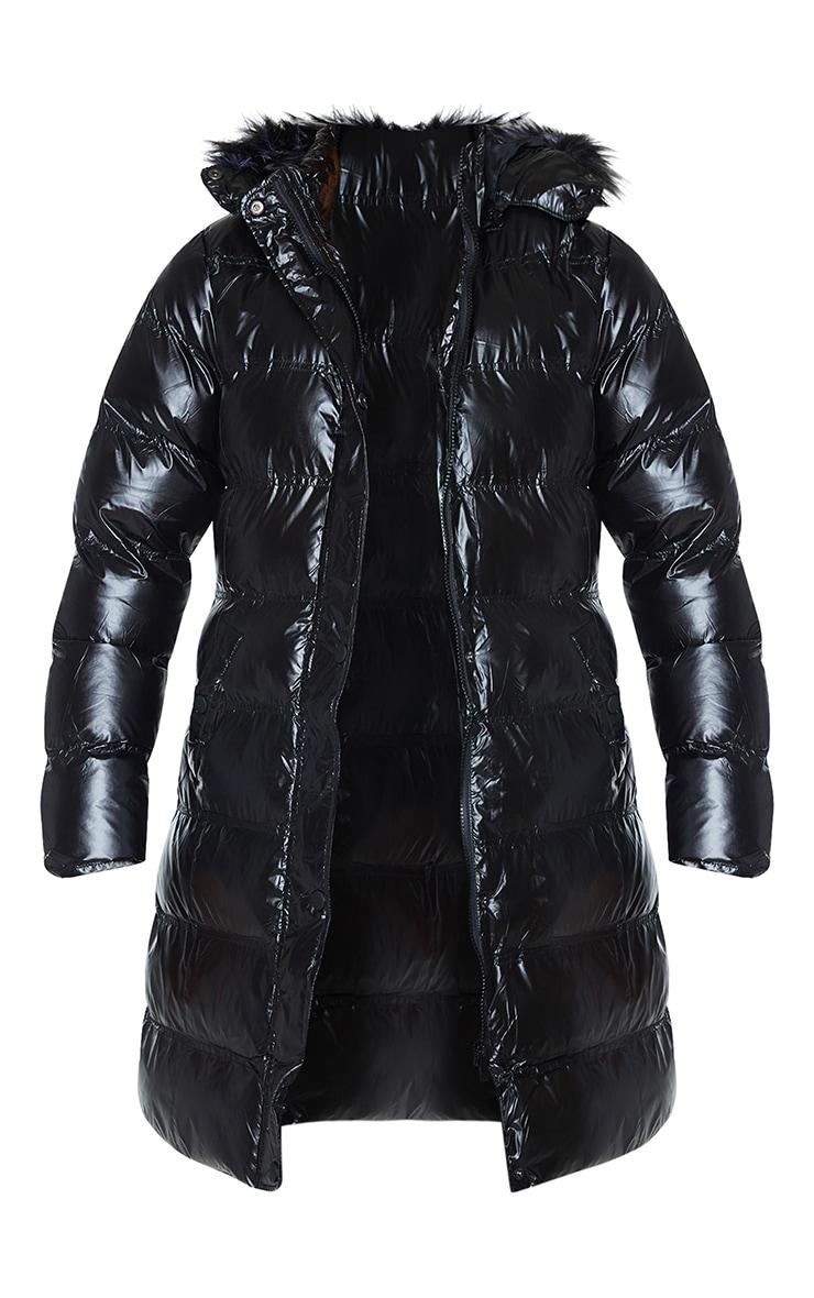 Black Faux Fur Hooded Midi High Shine Puffer 5
