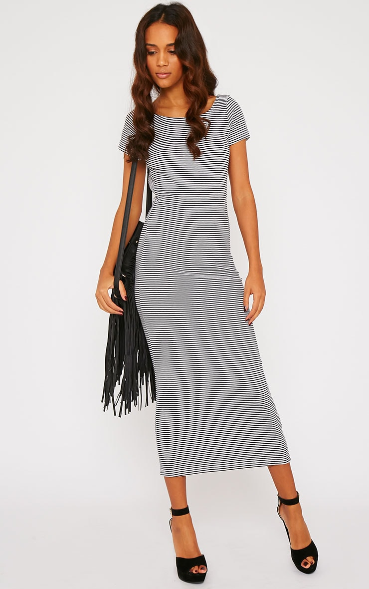 Suzie Black Ribbed Jersey Stripe Print Maxi Dress 3