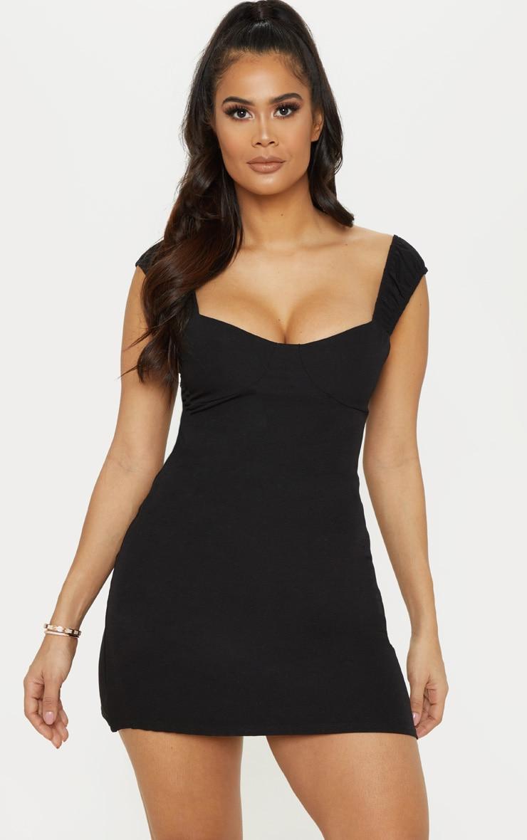 Black Ruched Strap Shift Dress 1