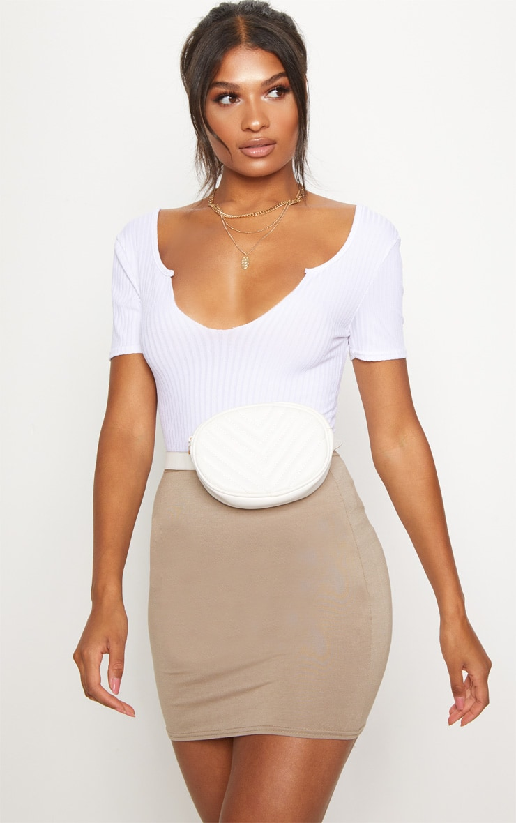 Basic Taupe Jersey Mini Skirt 1