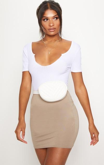 Basic Taupe Jersey Mini Skirt