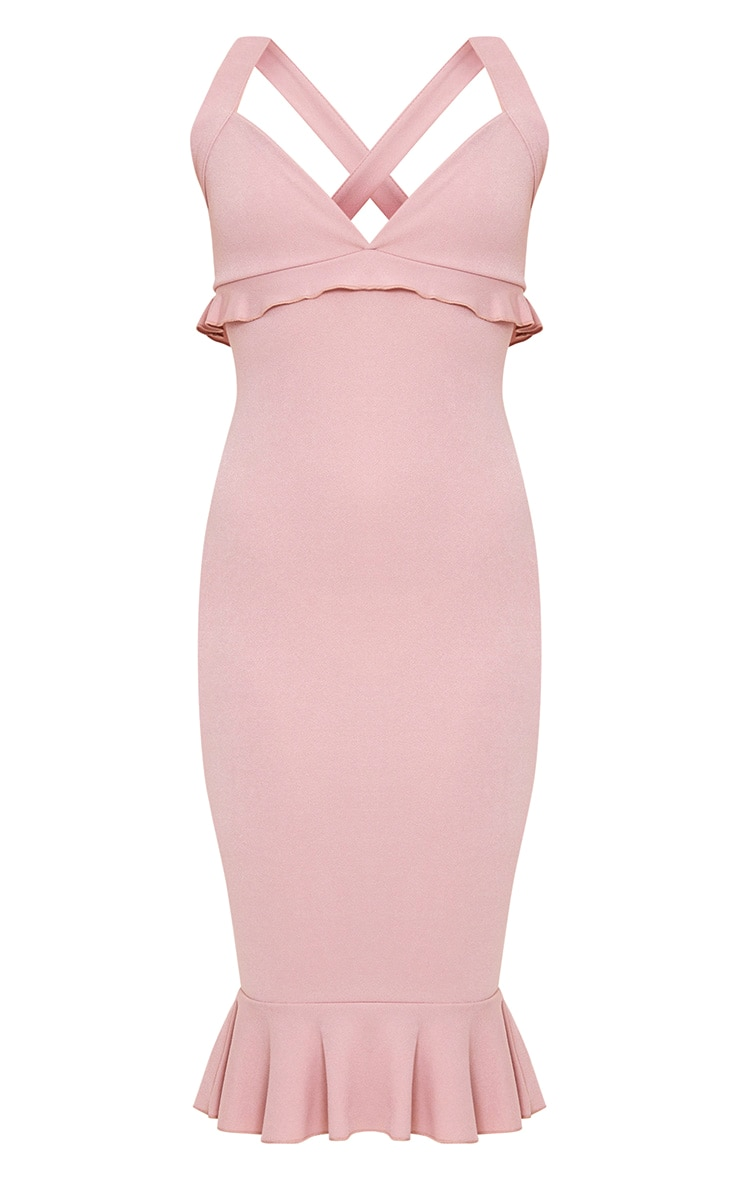 Dusty Pink Frill Detail Midi Dress 3