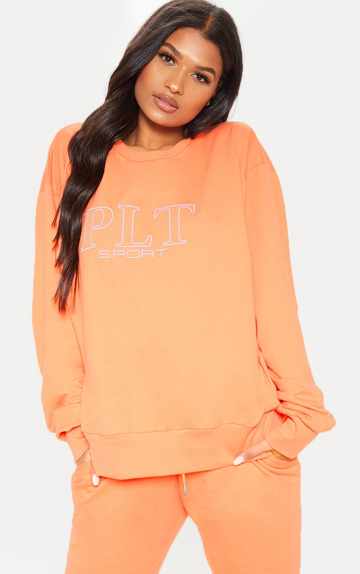 PRETTYLITTLETHING Peach Embroidered Oversized Sweatshirt 1