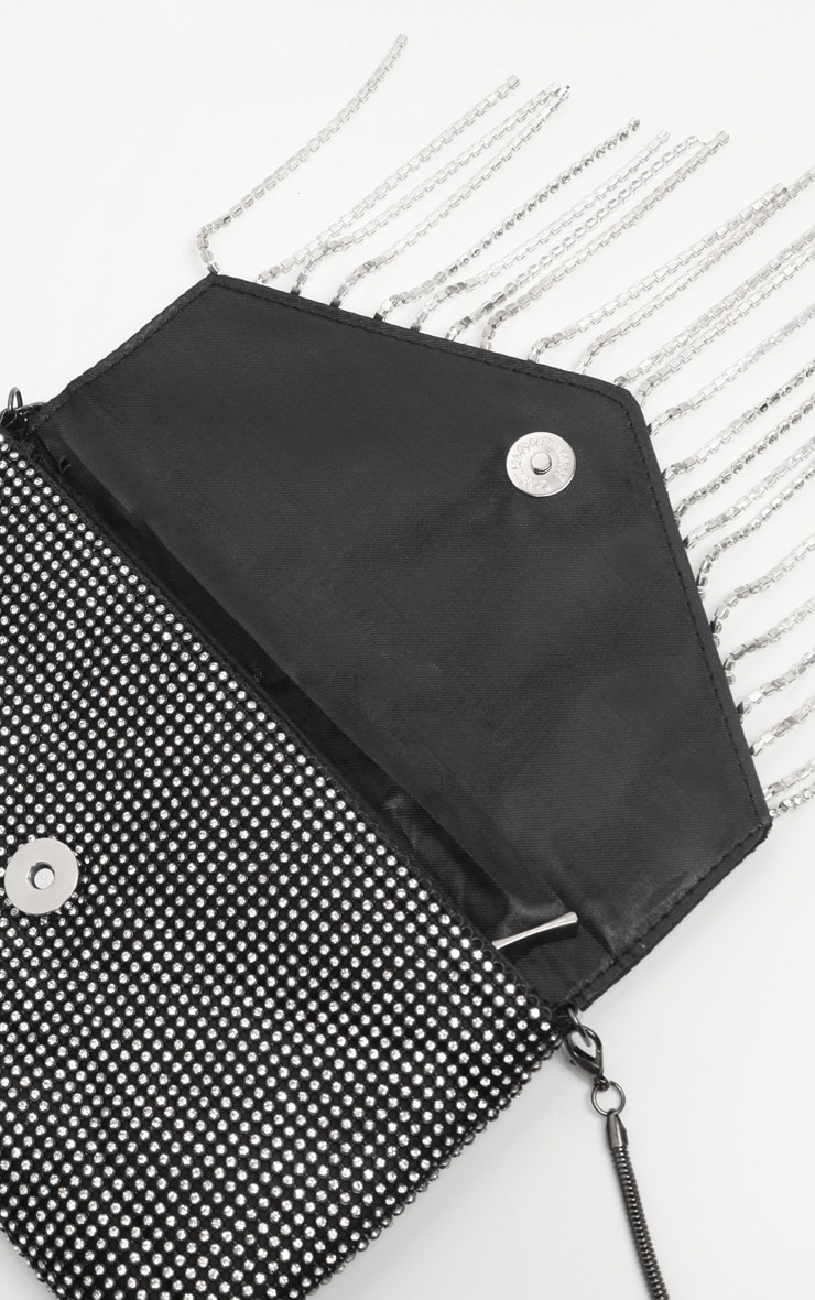 Pochette clutch noire à franges strassées  2