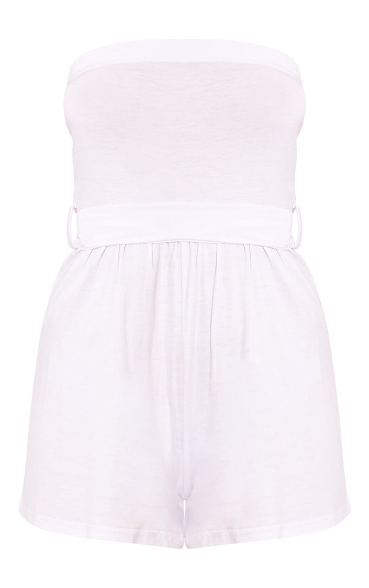 Ieshah White Jersey Bandeau Playsuit  3