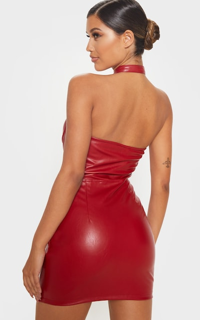 Maroon Faux Leather Halterneck Buckle Bodycon Dress