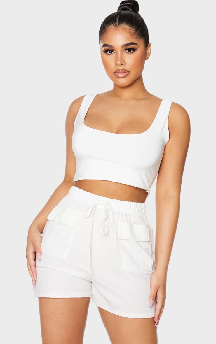 Petite Cream Cargo Shorts 4
