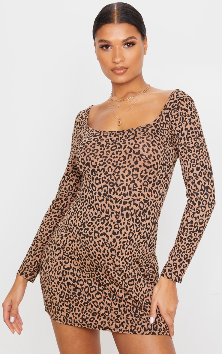 Brown Leopard Print Long Sleeve Square Neck Shift Dress  5