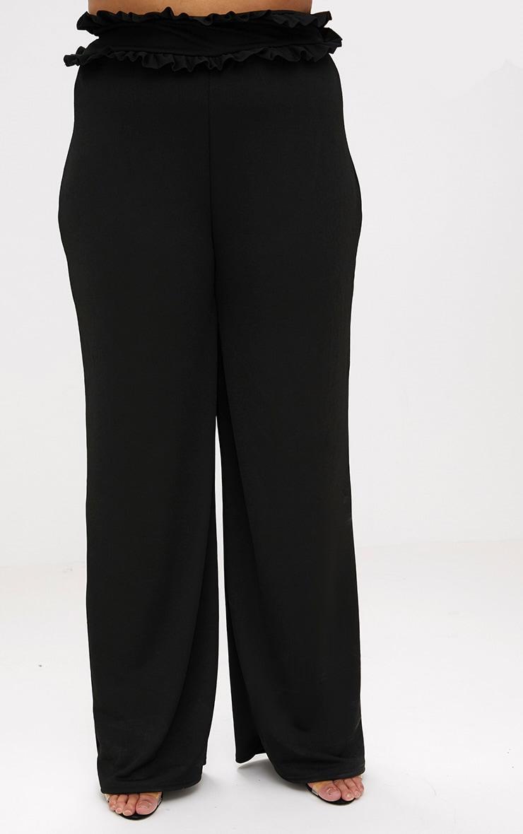 Plus Black Frill Waist Flare Trousers 4