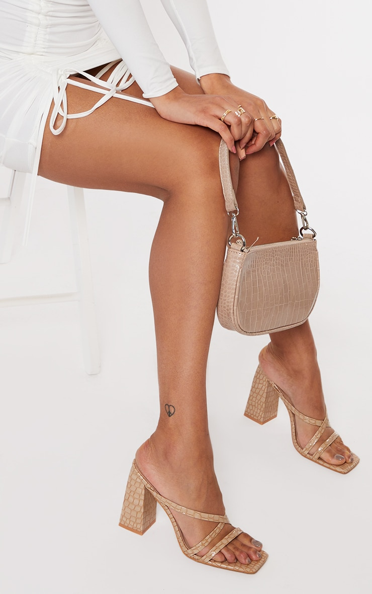 Nude Patent Pu Snake Flare High Block Heel Strappy Mules 2