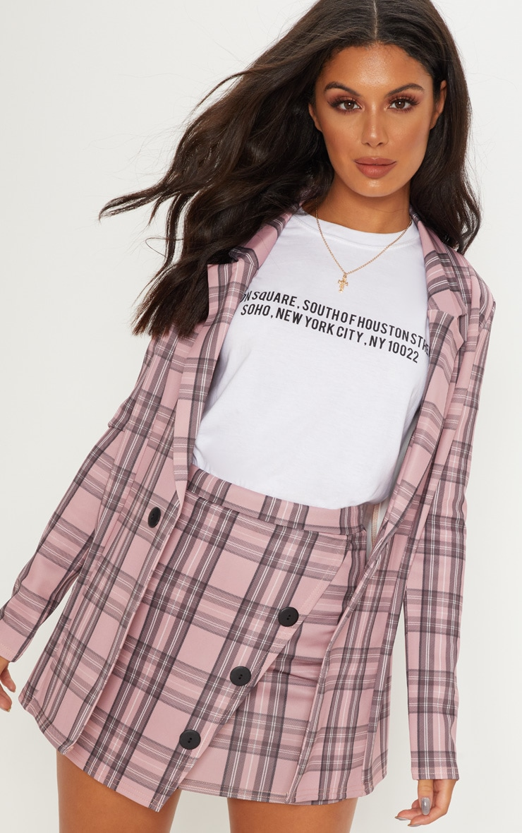 Pink Check Button Skirt 5
