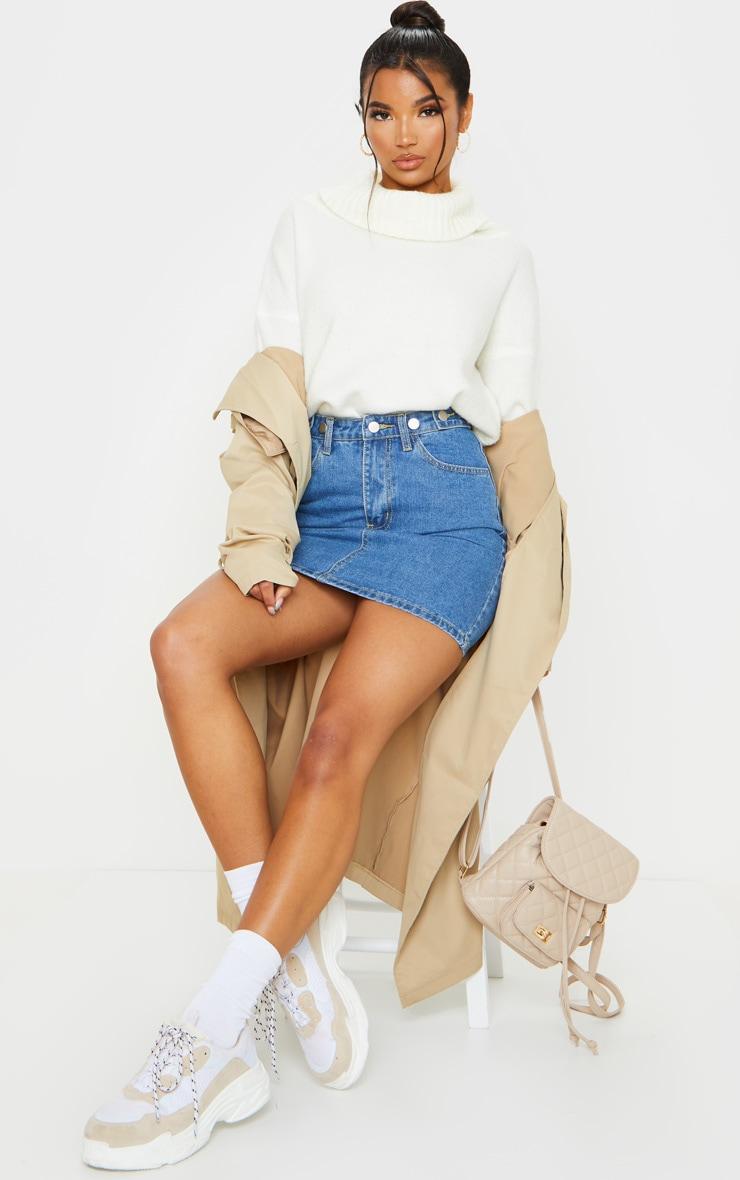 Mid Blue Wash Button Waist Skirt 4