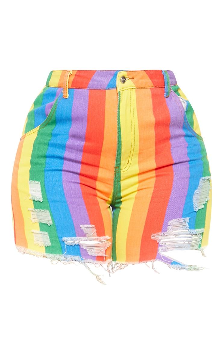 Plus Multi Stripe Denim Short  3