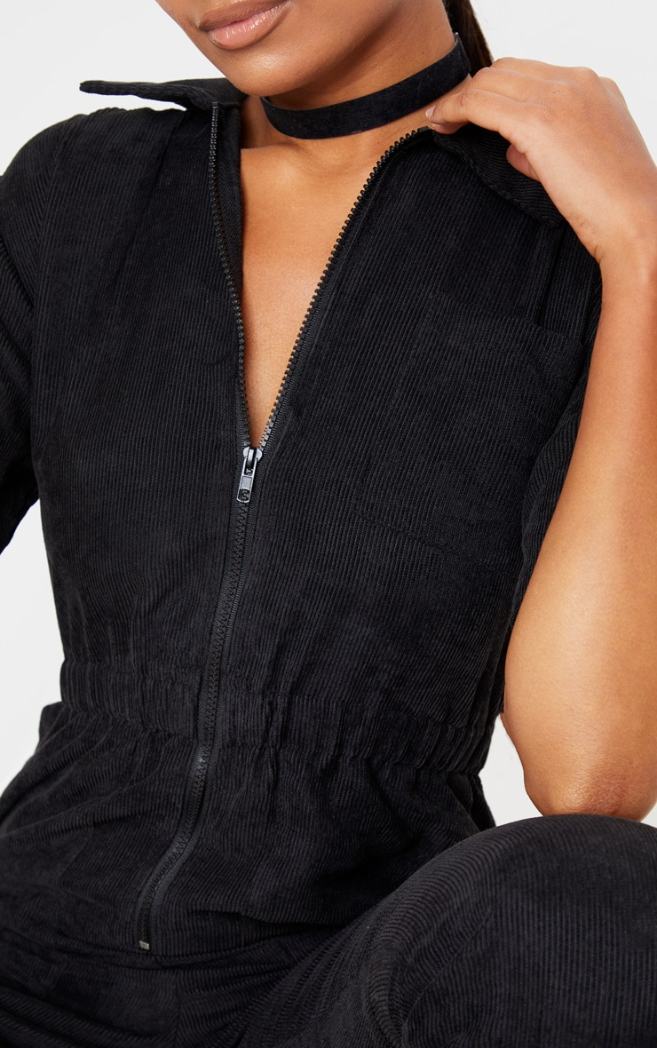 Black Cord Zip Through Short Sleeve Jumpsuit 5