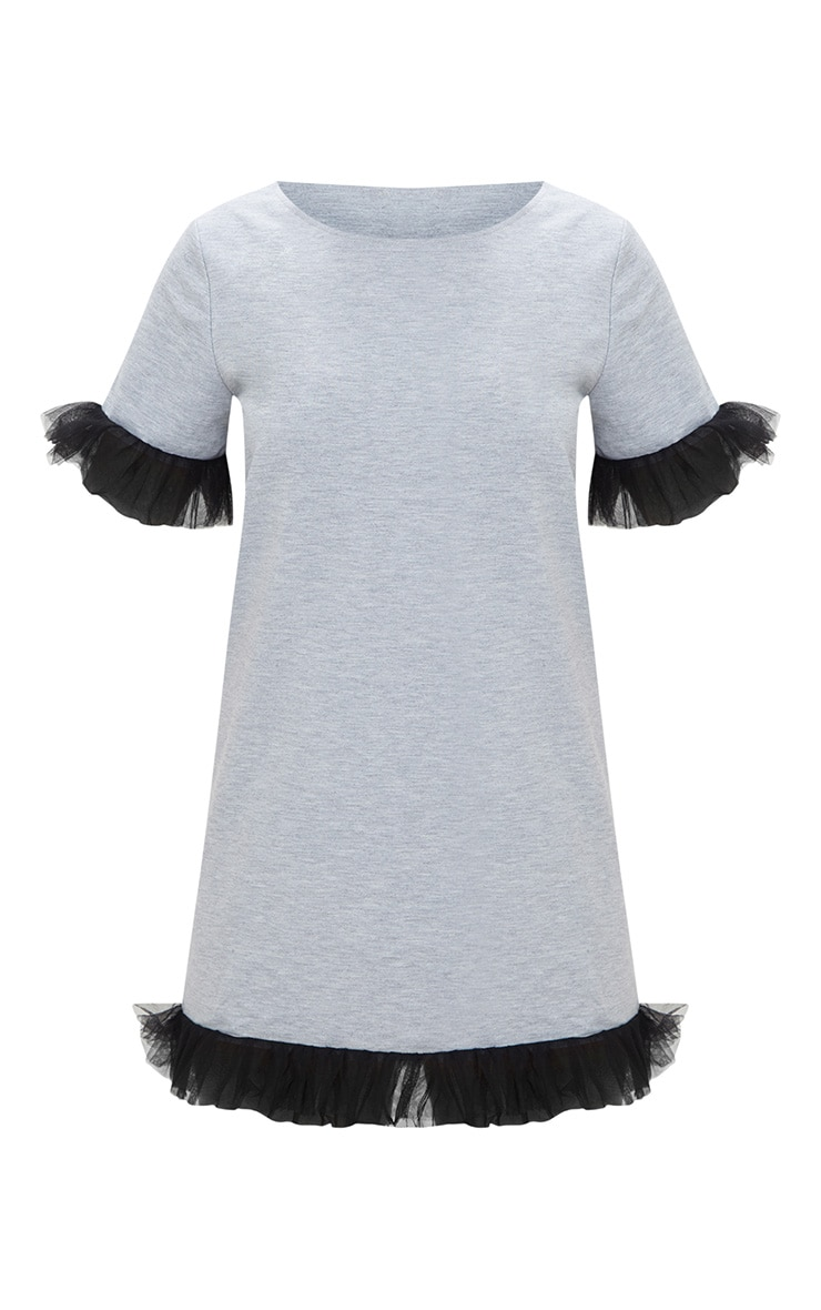 Grey Marl Mesh Tulle Sleeve T Shirt Dress  3