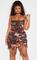 Plus Multi Renaissance Print Ruched Bodycon Dress 1
