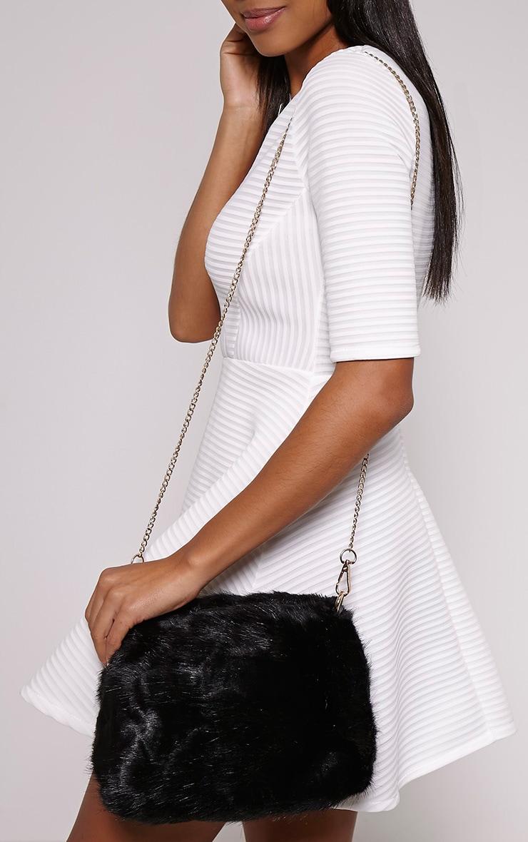 Halley Black Fluffy Chain Shoulder Bag 2