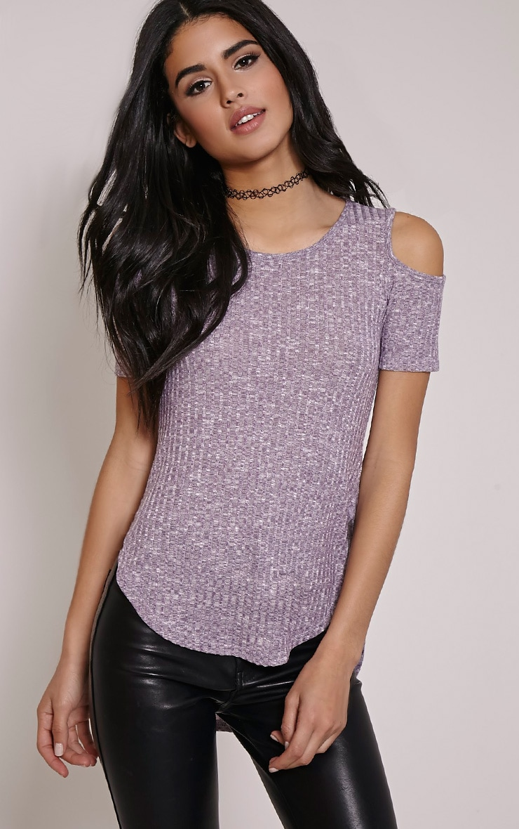 Eugene Mauve Ribbed Cold Shoulder Drop Hem Top 1