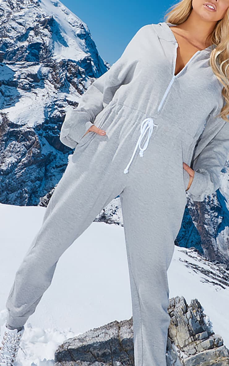 Plus Grey Long Sleeve Hooded Sweat Jumpsuit  5