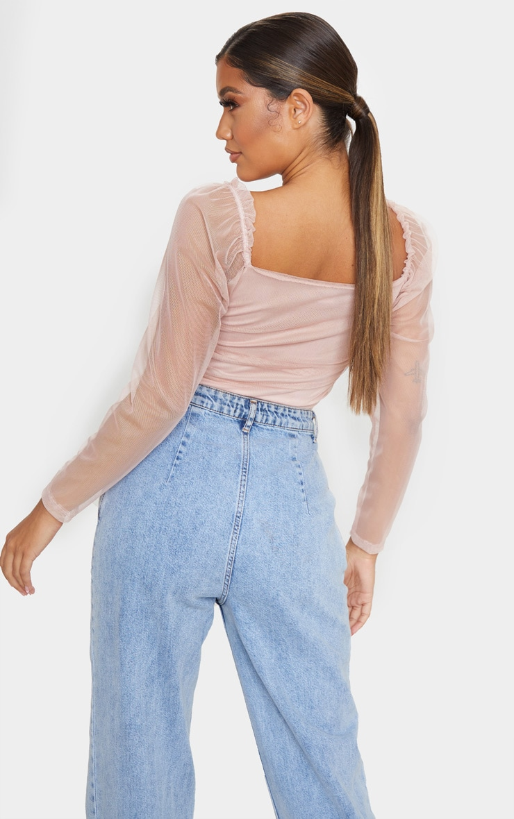Blush Mesh Ruched Side Seam Long Sleeve Crop Top 2