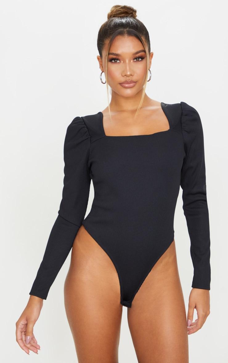 Black Structured Rib Square Neck Bodysuit 2
