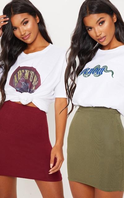 Burgundy and Khaki Jersey Mini Skirt 2 Pack
