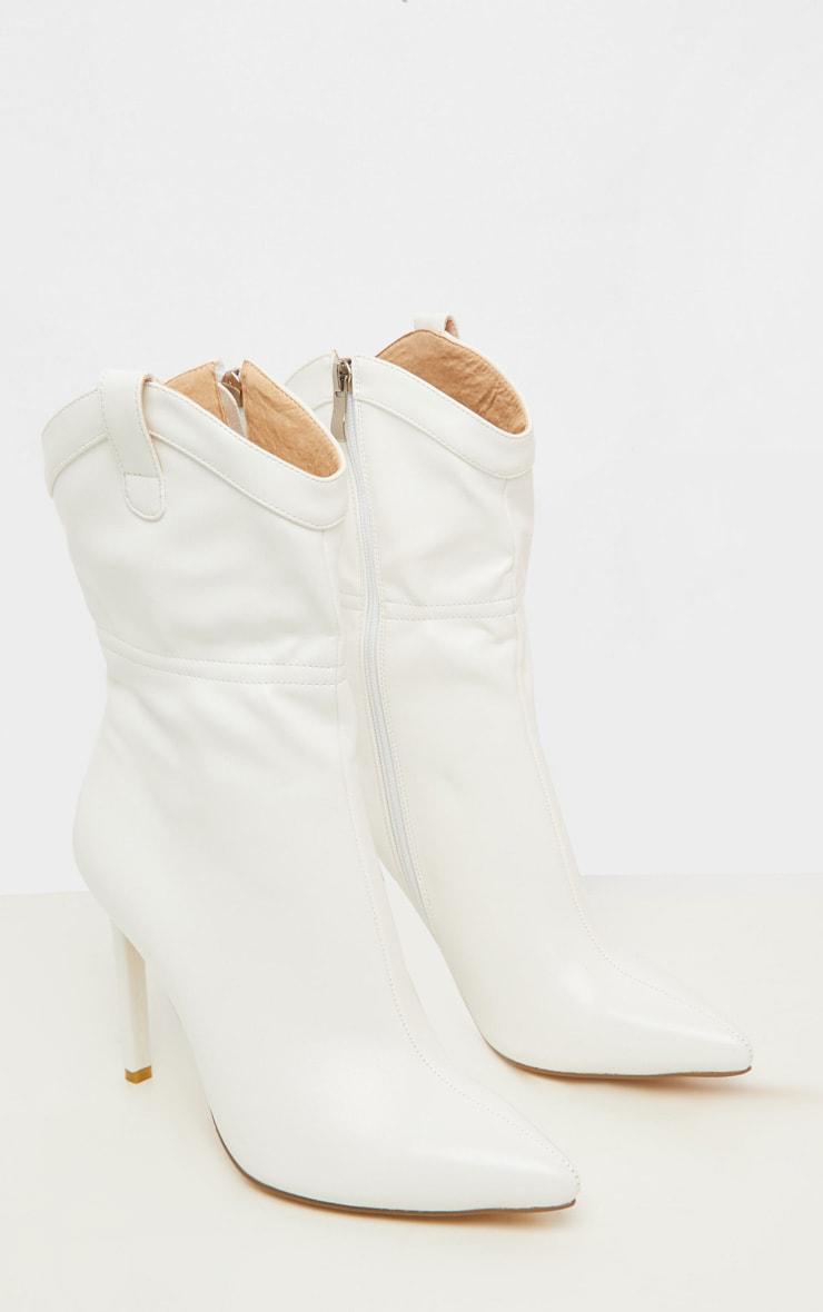 White Western Detail Point Ankle Boot 4