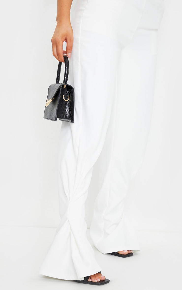 White Pleated Detail Tapered Hem Pants 4