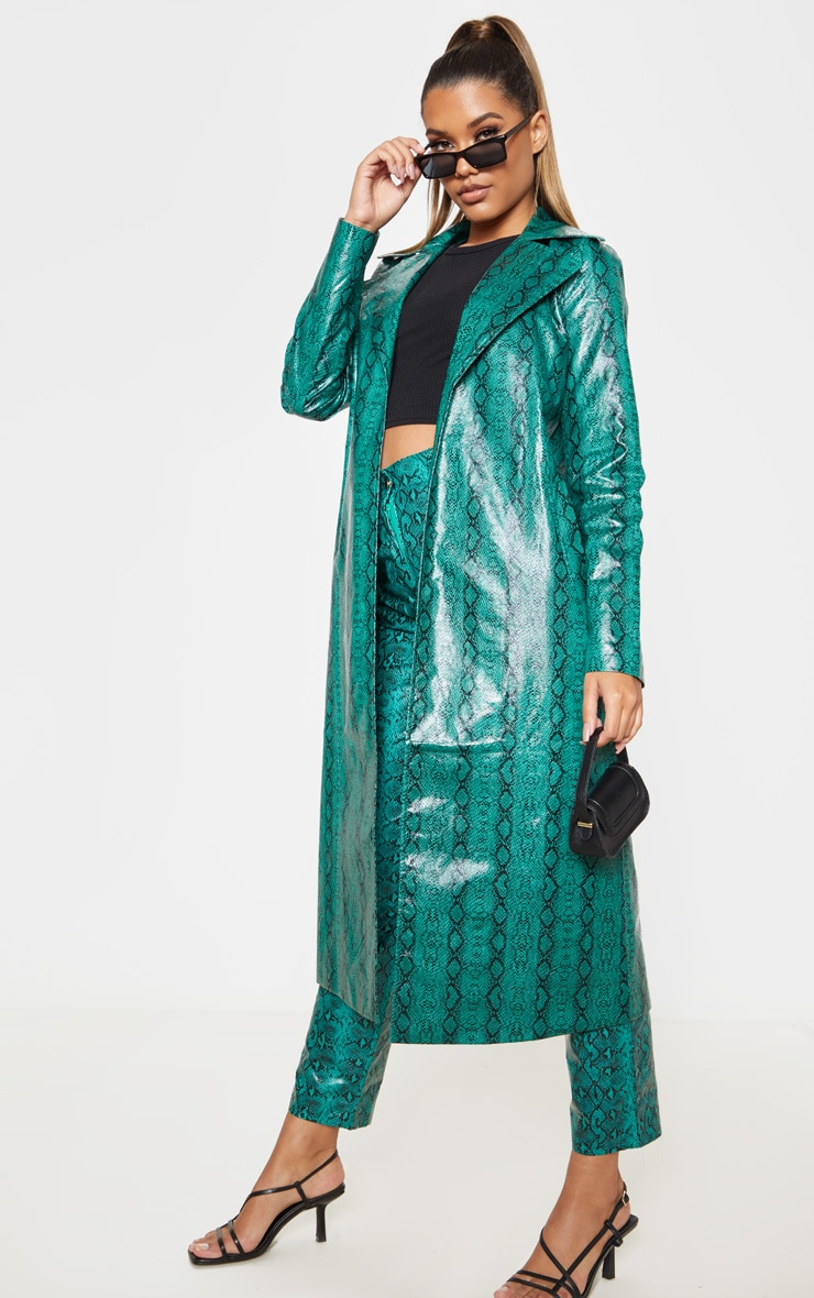 Emerald Green Snake PU Trench 4