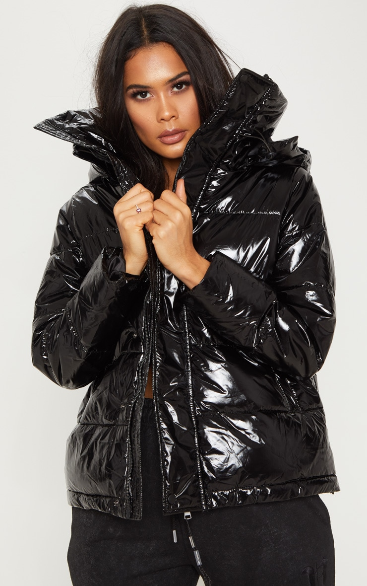 Black High Shine Oversized Hooded Puffer  4