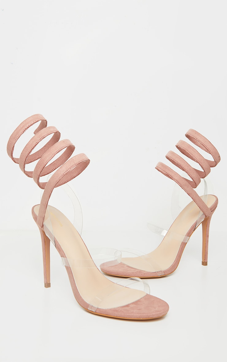Dusty Rose Ankle Wrap Strappy Heeled Sandal 3