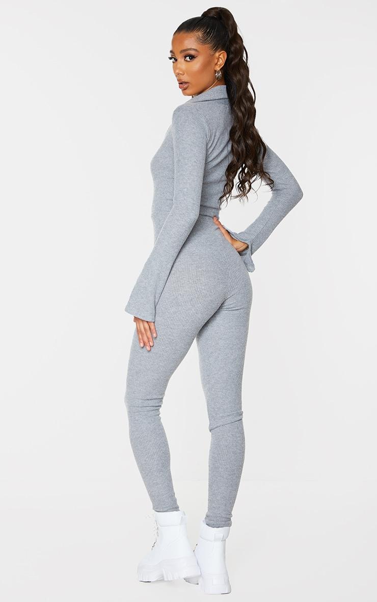 Grey Brushed Rib V Neck Shirt Jumpsuit 2