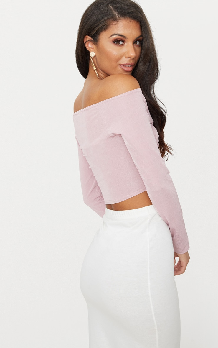 Dusty Pink Slinky Ruched Front Long Sleeve Crop Top  2