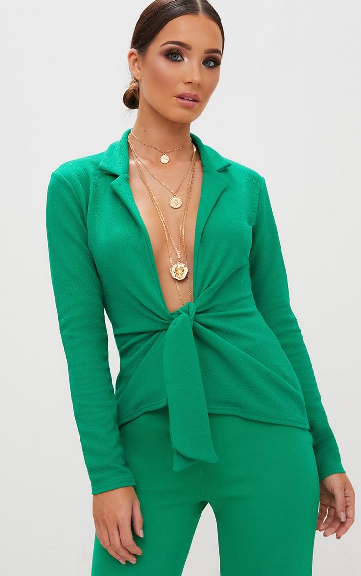 Emerald Green Tie Front Blazer 1