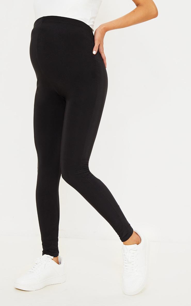 Maternity Black High Waist Slinky Leggings 2