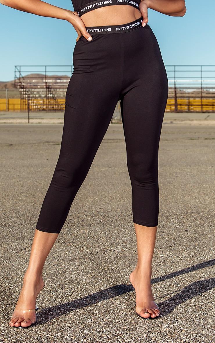 PRETTYLITTLETHING Petite Black Cropped Leggings 2