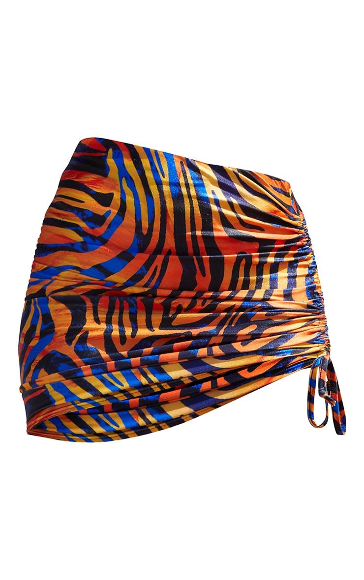 Orange Zebra Swirl Print Double Ruched Side Beach Skirt 6