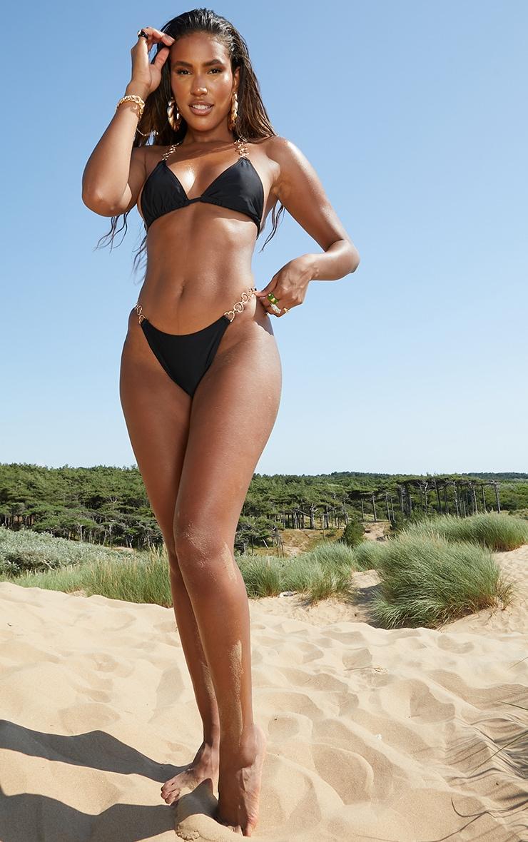 Black Heart Strap Triangle Bikini Top 3