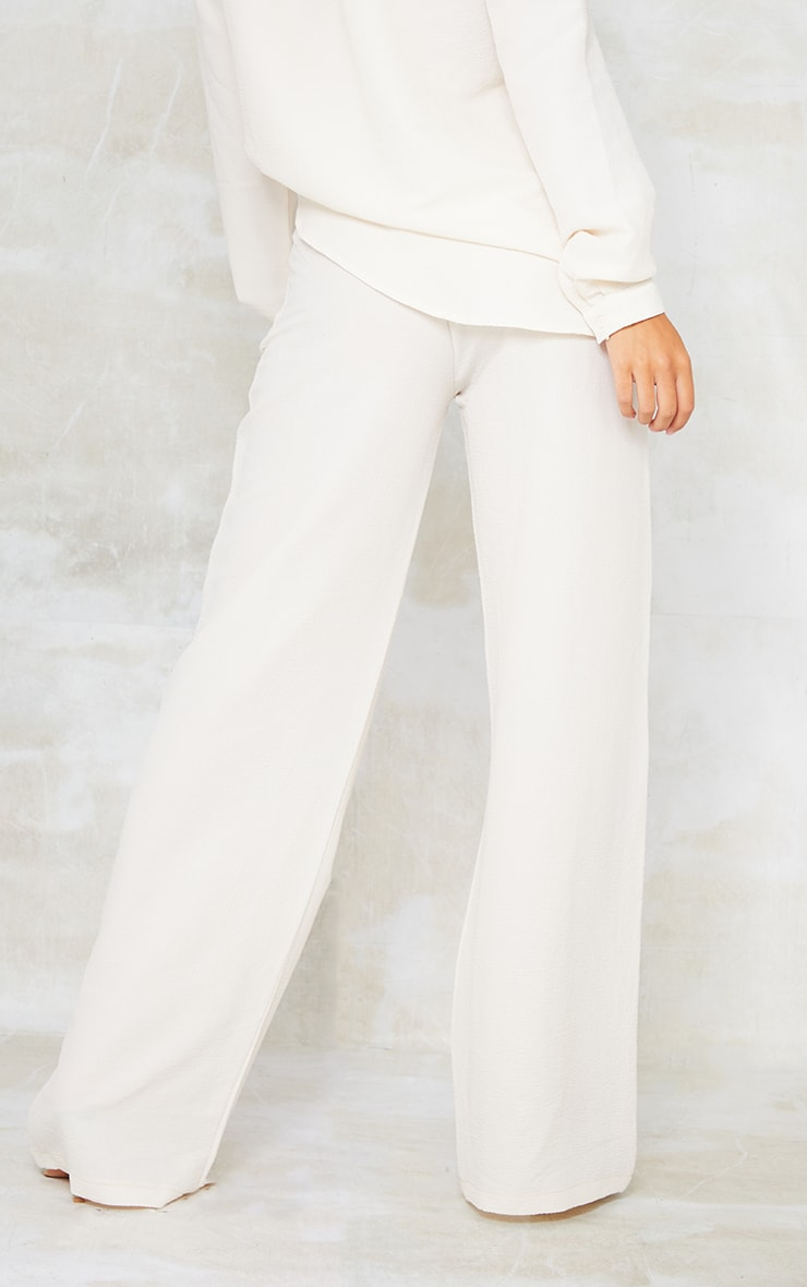 Cream Textured Crinkle Wide Leg Trousers 3