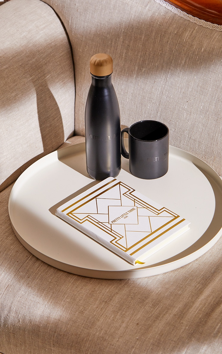 PRETTYLITTLETHING White with Gold Geo Print Notepad 1