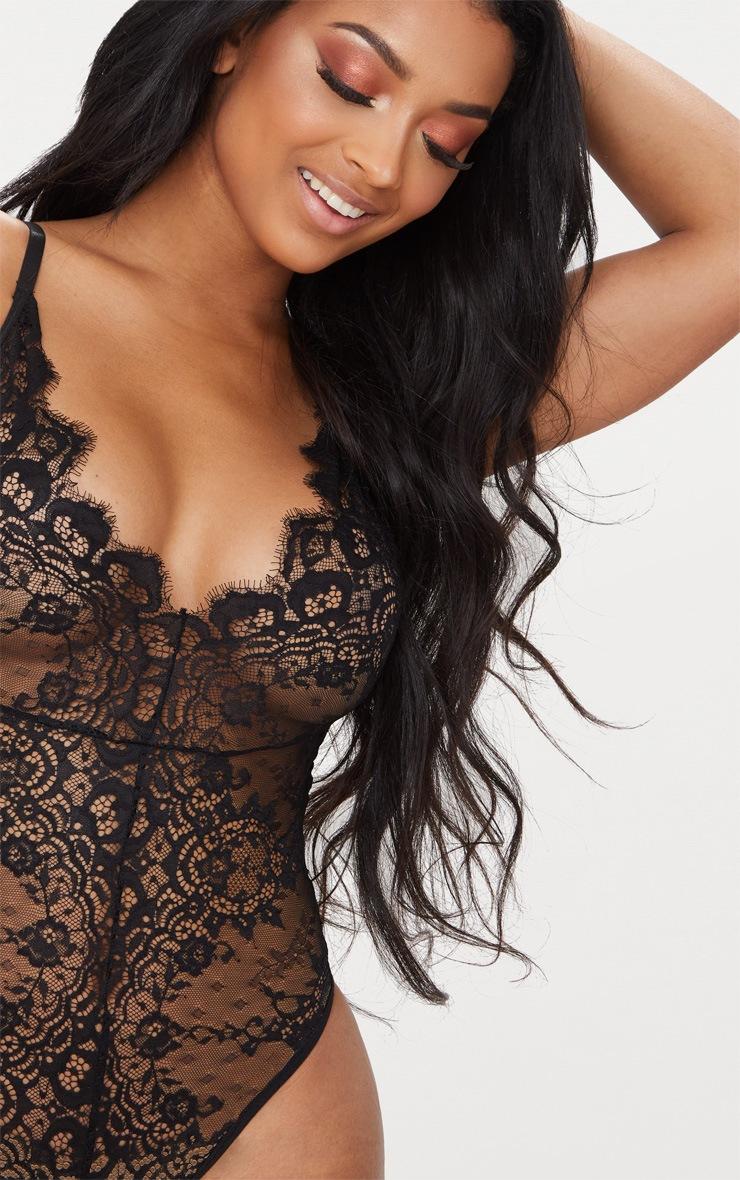 Black Eyelash Lace Waist Detail Body 6