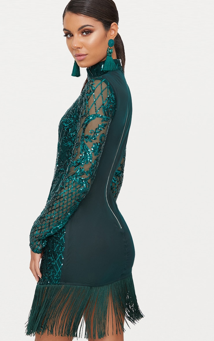 Emerald Green Sequin Long Sleeve Tassel Hem Bodycon Dress 2