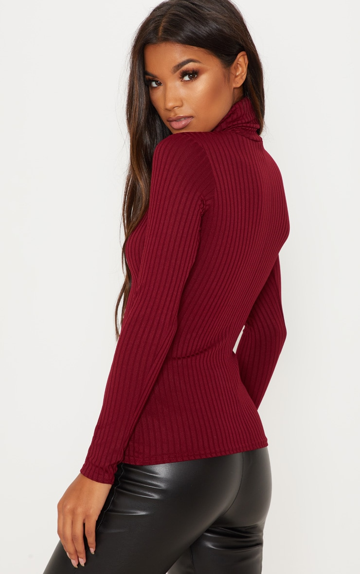 Rheta Burgundy Ribbed Polo Neck Top 2